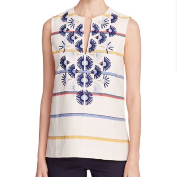 Online Shop From China Cheapest Price Tory Burch Embroidered Sleeveless Top 2018 Online 2018 New Online Free Shipping ZnmpSA7l